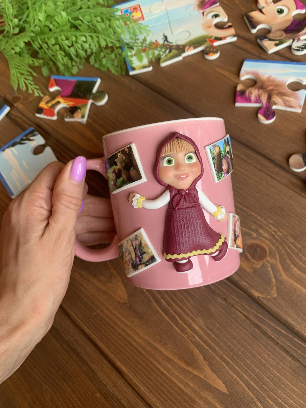 Mug Masha and the Bear, Masha the Bear for his birthday, Gift for a child, Personalized cup for children, Masha and the Bear, Pink