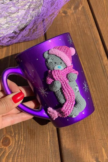 Purple glass mug with teddy bear, children porcelain tea cup, gift for girl, cute mug, cup for teddy bear, gift for baby niece, handmade mug