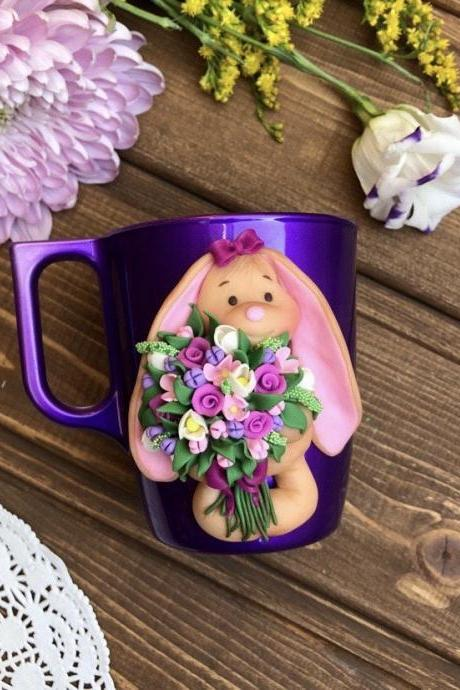 Easter bunny coffee mug, baby girl 1st birthday, glass tea cup with rabbit decor, christmas gift kids, custon mug