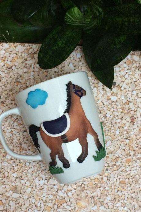 decor on a horse mug, Personalized mughorse a polymer cup, custom horse 3d mug, horse sculpture, horse race, horse 3d mug, custom mug