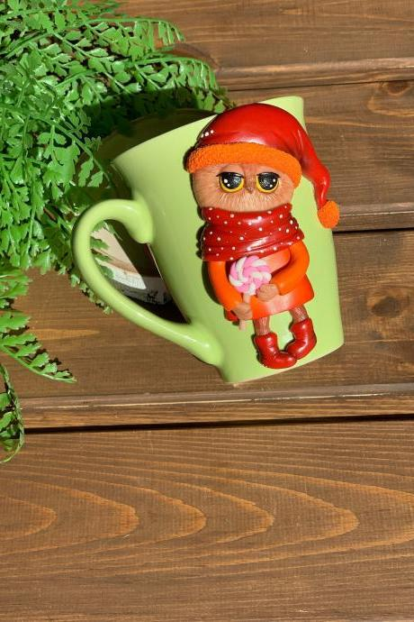 cup turner, best friend mug, handmade ceramic cup, green mug with an owl, a cute couple of owls, decorated cup, gift for children,