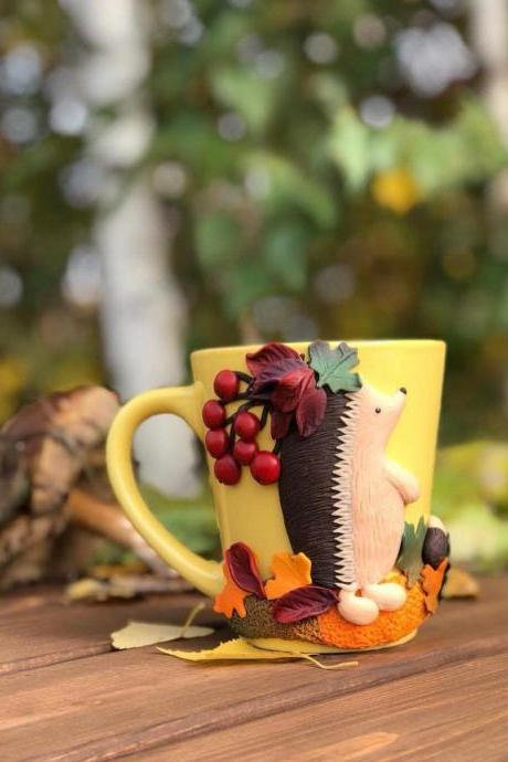 Mug for a best friend, a gift for grandmother, Autumn mug, yellow tea mug Funny hedgehog, forest animals, mother in law gift, 3d mug