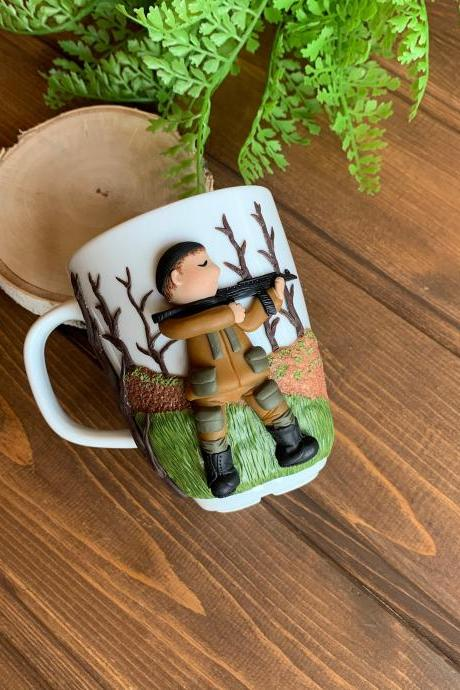 Mug for the hunter, military, gift for the hunter, personalized mug, decorated 3D mug, mug for husband, custom mug, mug for best friend