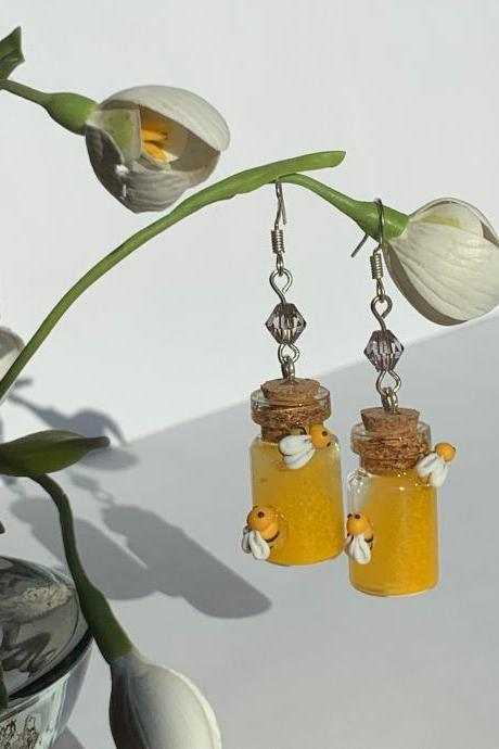 Yellow earrings, miniature honey bottle, cute pendant earrings, glass bottle pendant, miniature bottle, bee earrings, bright summer